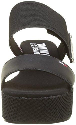 Flatform Plataforma black Con Mix 990 Tommy Jeans Material Sandalias Sandal Negro Mujer Para Plana U0ctqH