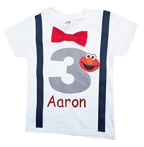 3rd Birthday Shirt Boys Grey Elmo Tee - Personalized