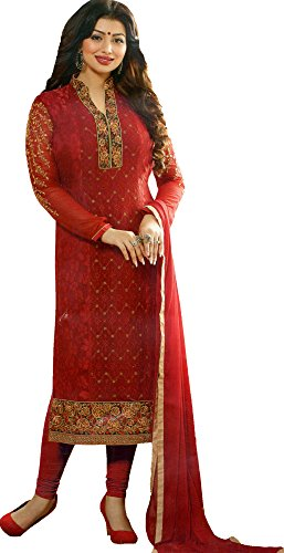 Exotic India Mars Red Long Chudidar Salwar Kameez Suit With Woven Floral and Embroidery All Over Size X-Large