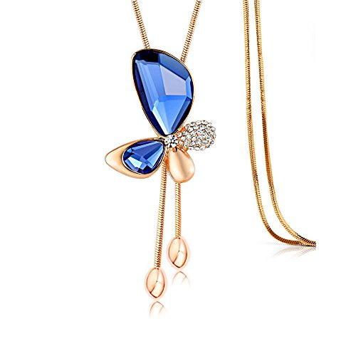 [Merdia Long Chain Necklace Butterfly Pendant Sweater Necklace with Created Crystals Jewelry in Blue color] (Butterfly Chain Necklace)