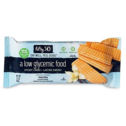 Fifty50 Foods Sugar Free Low Glycemic Vanilla Crème Filled Wafers, 3.5 Ounce