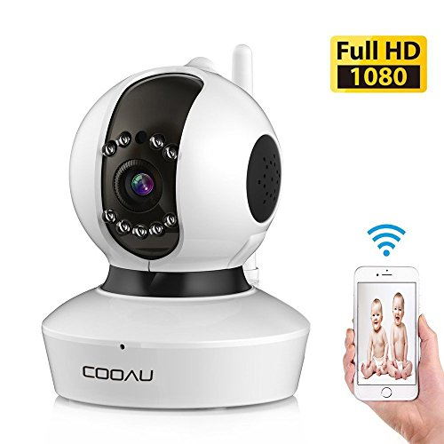 COOAU Home Security Wireless IP Camera 1080P WiFi CCTV Surveillance Webcam, Built-in Microphone Motion Detect Mobile Device Remote Control View Support 128G Micro SD Record Night Vision