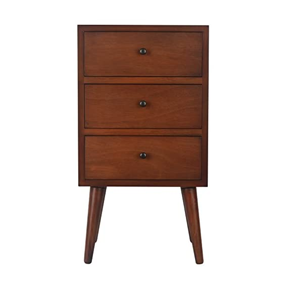 Décor Therapy Mid Century Three Drawer Wood Side Table, Light Walnut - Three storage drawers Black hardware Constructed of hardwoods and veneers - living-room-furniture, living-room, end-tables - 41ofMVp jyL. SS570  -