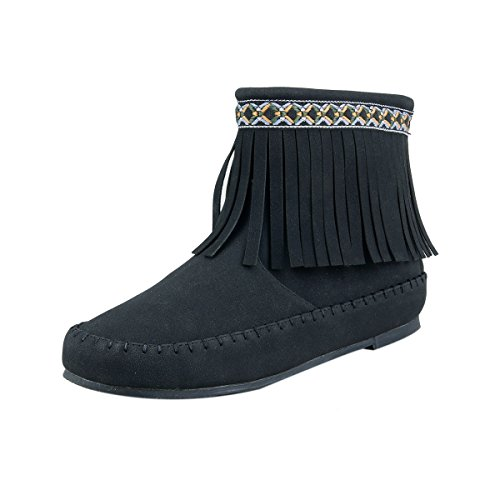 Western Indian Style Girl's Fringe Ankle Boots with Zipper Black Toddler Little Kids - Indian Boots Ankle