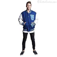 LetterCustom Premium Leather /& Wool Varsity Letterman Jacket Royal Blue /& White