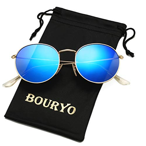BOURYO Classic Small Round Polarized Sunglasses for Men Women Metal Frame Mirrored Lens Sun Glasses 3447(Gold/Blue ()