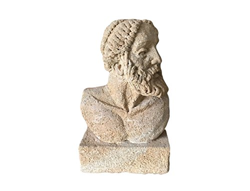 Mezzo-busto-di-Zeus-in-Pietra-Giallo-Dorato-di-Sicilia