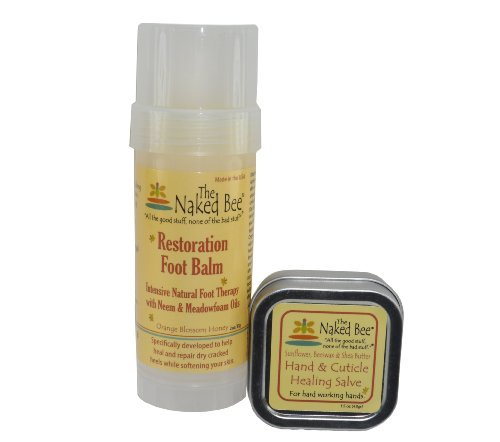 Naked Bee Restoration Foot Balm 2 Oz + Hand and Cuticle Healing Salve 1.5 Oz Pack
