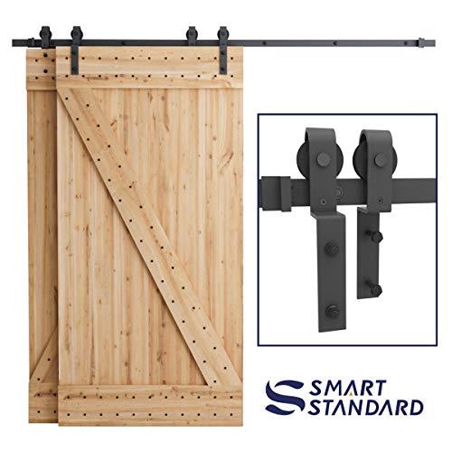 """SMARTSTANDARD 8ft Bypass Sliding Barn Door Hardware Kit - Upgraded One-Piece Flat Track for Double Wooden Doors - Smoothly &Quietly - Easy to Install - Fit 48"""" Wide Door Panel (J Shape Hanger)"""