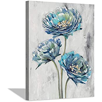 Abstract Floral Canvas Wall Art: Blossom Blue Lotus Flower Artwork Painting Print for Bathroom (12