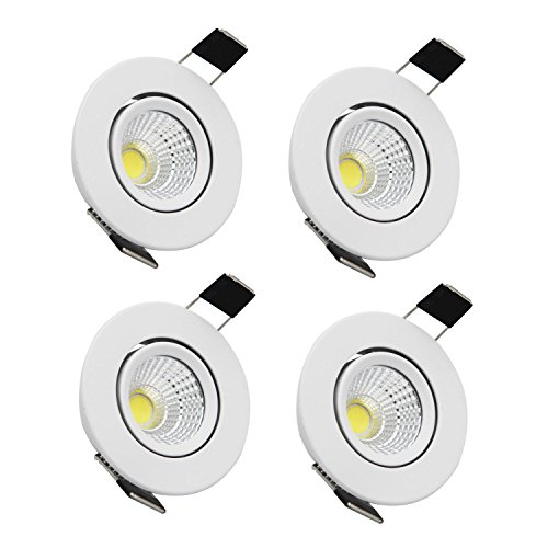 LED Recessed Downlight ZDPCYT 110V Dimmable 3WCOB CRI80 LED Spotlight Lamp Daylight 2 inch Down Lights Adjustable Angle Recessed Lighting Kits 5000K-5500K Ceiling Lights Pack of 4 with LED Driver by ZDPCYT (Image #7)