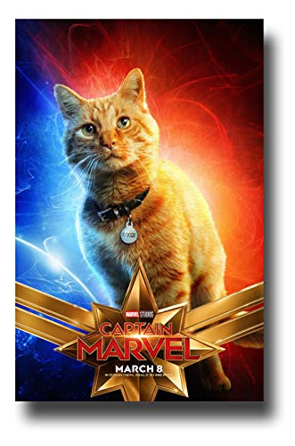 (Captain Marvel Poster Movie Promo 11 x 17 inches Cat Goose Blue Red )