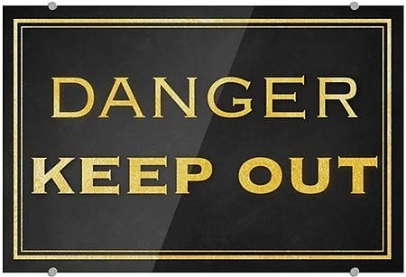 5-Pack Classic Gold Premium Brushed Aluminum Sign CGSignLab Danger Keep Out 18x12