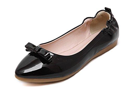Closed Femme Ballerines Toe Respirante Décoration Pu Mineroad Chaussures  Plat Bowknot Camaïeu Noir Mode F8wq6xd ... 853a2dbf347c