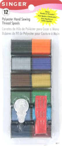 Singer Polyester Dark Hand Thread, Assorted Colors, 12 Spools