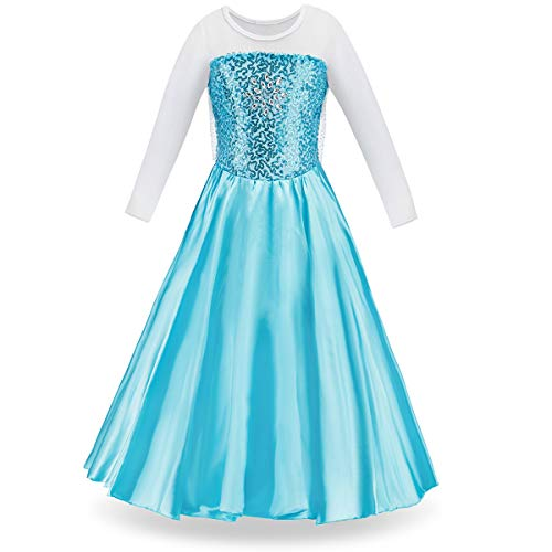 FUNNA Elsa Costume for Girls Princess Dress Up Frozen Costume Cosplay Fancy Party, Sky Blue, 3T -
