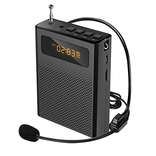 Price comparison product image Portable Voice Amplifier 10W Voice Loudspeaker with Wired Microphone Headset,  Black Speaker with Amp Powerful Mini for Teachers,  Tour Guide,  Training,  Presentation,  Coaches S268