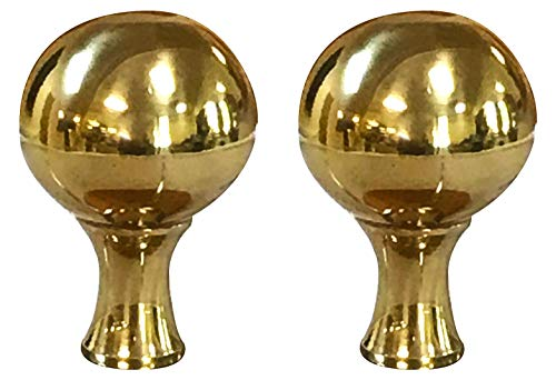 (Royal Designs Large Ball Lamp Finial for Lamp Shade-Polished Brass Set of 2)