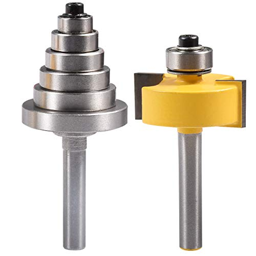 KATUR Rabbet Router Bit with 6 Size Interchangeable Bearing Set for Multiple Depths, Including 1/8