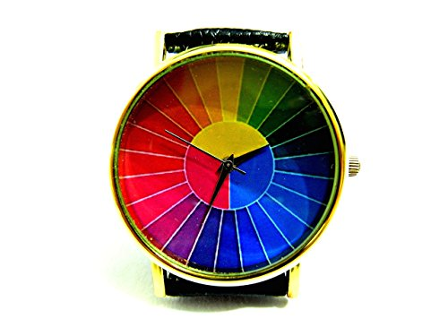 (Color Wheel Watch, Color Wheel Leather Watch, Bracelet Watch, Handmade Watch, Genuine Leather Bracelet Watch P184)