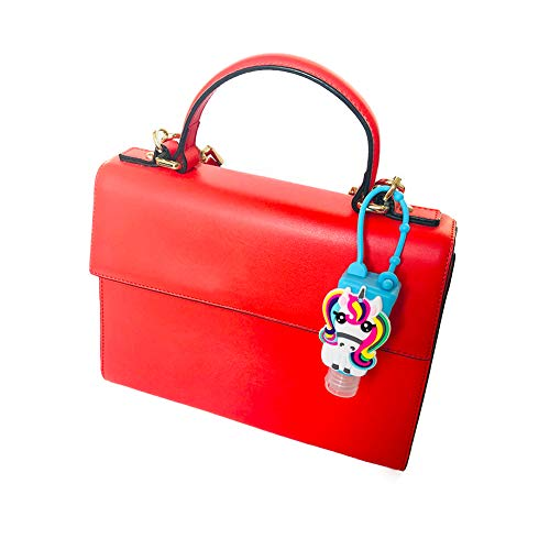 DANUC Unicorn Kids Adults Empty Travel Size Hand Sanitizer Bottles Case With Keychain Holder, Mini Pocket Thieves Hand Sanitizer Holder For Backpack Purse Bulk 1 oz 5pcs Flip Cap Reusable Bottle