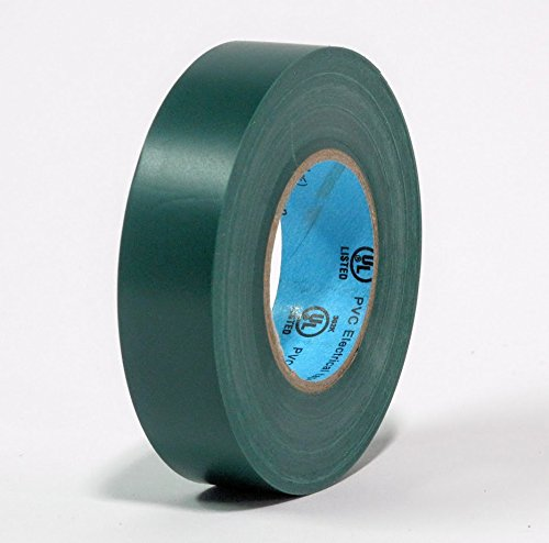 10 Rolls Professional Industrial General Purpose Electrical Tape with Moisture Tight Protection - 3/4 Inch X 66 Feet - Green Color - 10 Rolls per Case