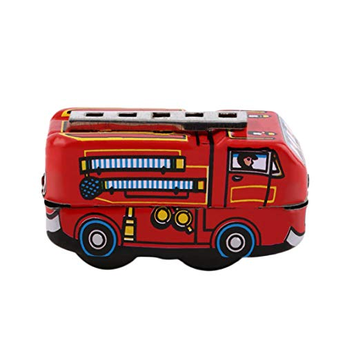 (Retro Classic Firefighter Fire Engine Truck Clockwork Wind Up Tin Toys Worldwide Sale)