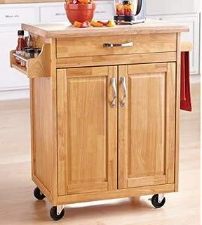 Amazon.com - Linon Rebekah Bamboo Kitchen Cart - Kitchen ...