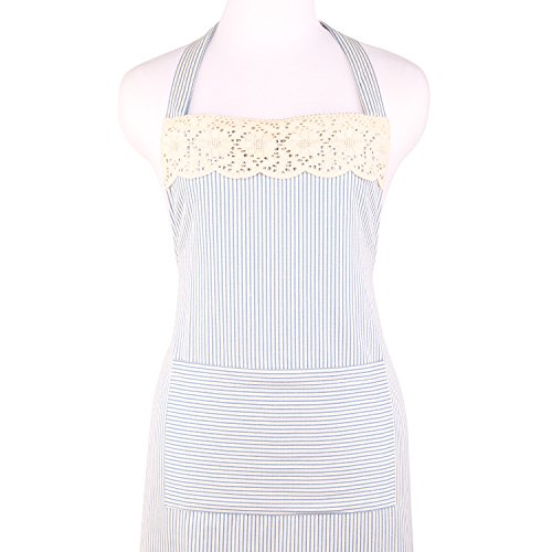 NEOVIVA Kitchen Apron for Women with Pocket, Durable Cotton Womens Aprons for Girls, Style Ella, Striped Sky Blue