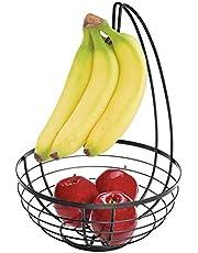 iDesign Austin Wire Fruit Bowl with Hanger for Kitchen Countertop Storage - Matte Black