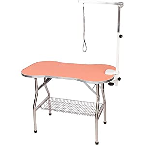 Flying Pig Heavy Duty Stainless Steel Pet Dog Cat Bone Pattern Rubber Surface Grooming Table