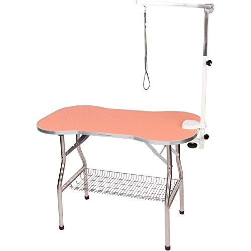 Flying Pig Heavy Duty Stainless Steel Pet Dog Cat Bone Pattern Rubber Surface Grooming Table with Arm/noose (Orange, 32