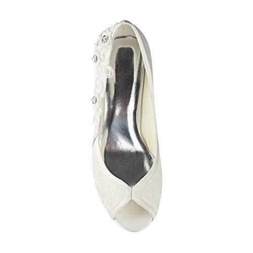 Mujeres Toe Alto Dama de 8 de Talones cm de Zapatos de de Novia Peep de Zapatos Verano Suela Boda Raso Best Apliques Goma de Las 4U® Encaje EU35 Primavera Banquetes Sandalias de KUKIE de Noche wUq0S1