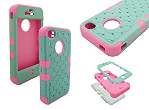 iPhone 4 Diamond Case, Nue Designs TM Cute Bling Rugged High Impact Hybrid Diamond Soft Silicone Hard Skin Case Cover iPhone 4/4s (MINT/PINK)