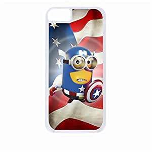 Captain America Minion- Hard White Plastic Snap - On Case with Soft Black Rubber Lining-Apple Iphone 5c Only - Great Quality!