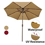 Abba Patio 9' Patio Umbrella with Solar Powered 24 LED Lights Market Outdoor Umbrella with Tilt and Crank, Brown