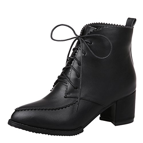ENMAYER Womens Closed Pointed Toe Pu Soft Material Short Plush Boots With Bandage Black colh4Z