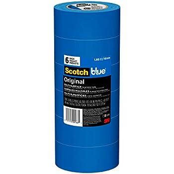 Scotch Painter's Tape ScotchBlue 2090-48A-CP Painter's, 1.88 in W x 60 yd L, Polypropylene Backing, Blue Tape, Width, 6 Pack