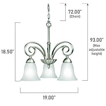 Kichler 3326NI Kitchen Nook Chandelier Lighting, Brushed Nickel 3-Light 19 W x 19 H 300 Watts