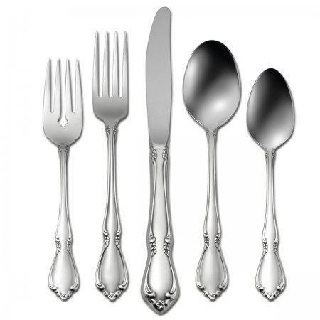 Oneida Chateau 5 Piece Fine Flatware Set, 18/8 Stainless, Service for 1