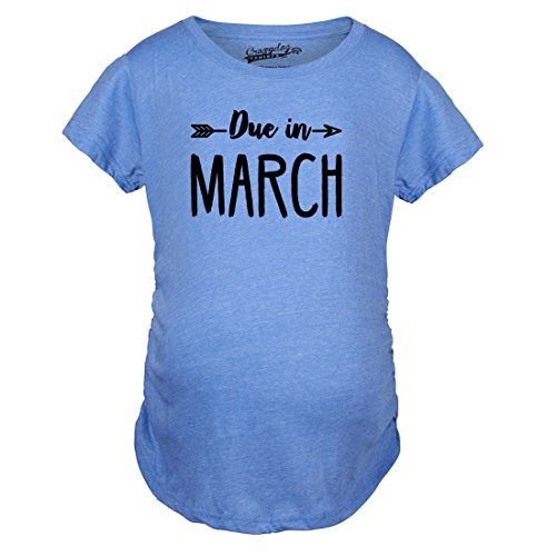 Crazy Dog TShirts - Maternity Due In March Funny T shirts Pregnant Shirts Announce Pregnancy Month Shirt (Blue) M - damen - M