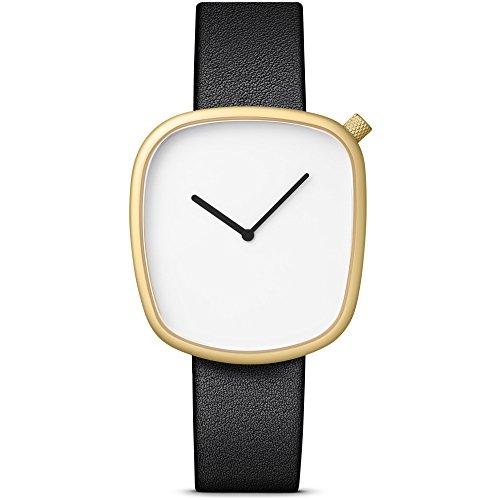 Bulbul Pebble 07 Watch, Analog Display Swiss Quartz Watch, Black Italian Leather Band, Assymetric 40mm (Swiss Made Quartz Movement Sapphire)