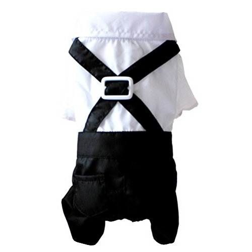 ZUNEA Gentleman Formal Suit Dog Overalls Pants Shirts Jumpsuit Bowtie Boys Male Pet Wedding Costume Outfits Clothes,for Small Puppy Dog Cat Black White (Black Cat Costume For Dogs)