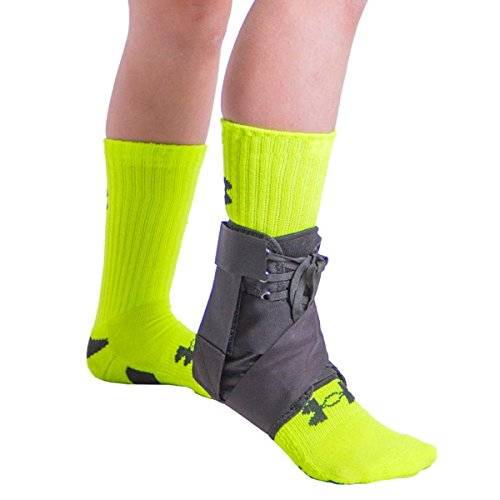 BraceAbility Kids Lace-Up Ankle Brace | Pediatric Figure 8 Foot Support Wrap for Youth, Active Children, Soccer, Sports Injury Protection, Sprains, Instability, Sore or Weak Ankles