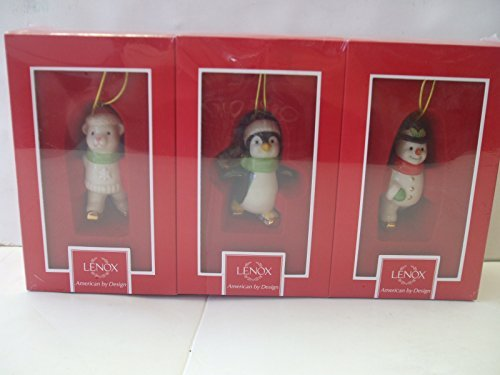 Lenox Skating Friends Ornaments Set of 3 - Penguin,Snowman and Bear Hanging Ornaments - Skating Lenox