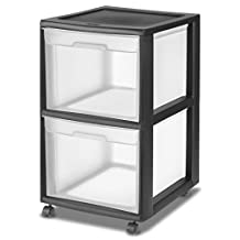 Sterilite 34209001 2 Drawer File Cart, Black Frame & Clear Drawers w/ Casters, 1-Pack