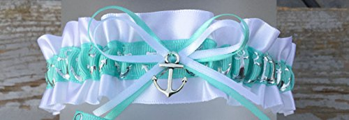 Nautical Aqua Blue & White Silver Anchor Nautical Satin Wedding Garter With Charm Bridal Keepsake Garter