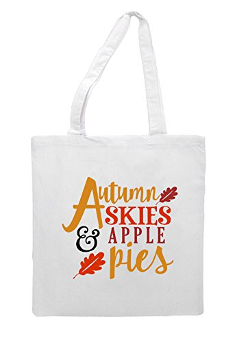 Apple Bag Shopper Statement Autumn Skies Fall Tote And Pies White q7wvxH1
