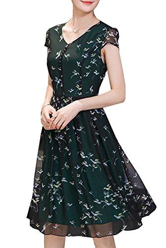 OLRAIN Womens Vintage Floral Printed A-Line Cap Sleeve Swing Tea Dresses