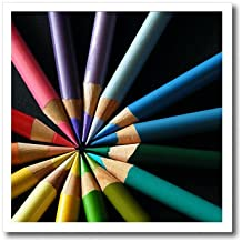 3dRose ht_22339_3 Colored Pencils Arraigned in Color Wheel-Iron on Heat Transfer Paper for White Material, 10 by 10-Inch